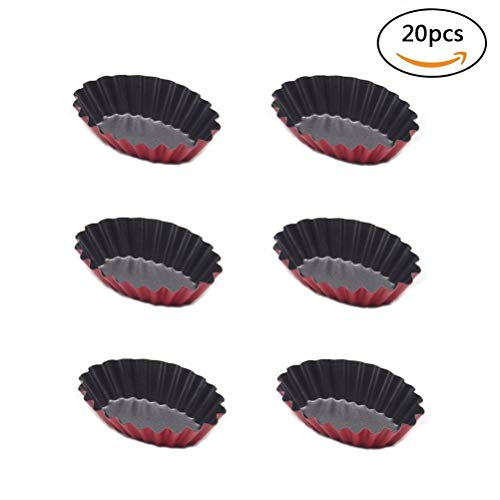 Kuke 20 Pcs Reusable Egg Tart Mold Cupcake and Muffin Baking Cup,Oval Shape Tortilere Cookie Pudding Mould Baking Tool Bakeware ()