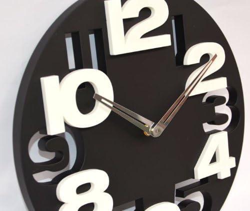 Worldoor 3D Big Digit Modern Contemporary Kitchen Office Home Decor Wall Clock Black Black