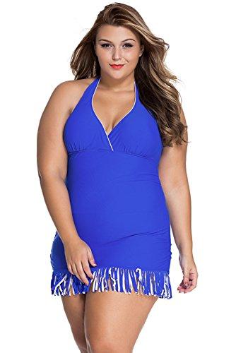 Nueva mujer Plus Size azul estampado y flecos bañadores de una pieza Monokini Beachwear Swimsuit tamaño 4X L UK 18–�?0UE 46–�?8