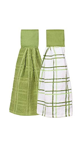 Trenton Gifts 100% Cotton Hanging Tie Towels | 2 Pack | Checked and Solid (Green) by Trenton Gifts