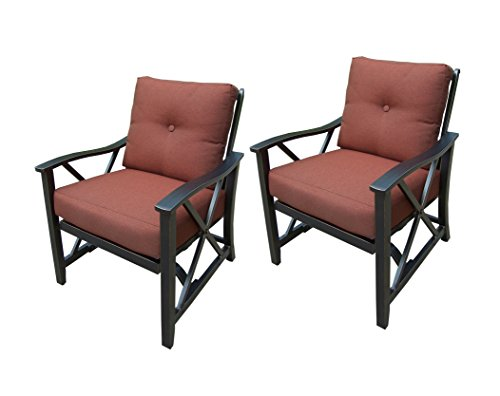 Oakland Living 2 Piece Haywood Deep Seat Rocking Chairs, Antique Bronze