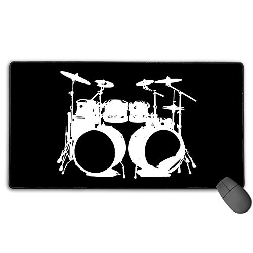 Cccccccocccc Drumms Drummer Snare Hi Hat Drumset Mouse Pads for Computers Game Office Mouse Pads, Anti-Slip Base Stitching Edge Durable (15.74 X 29.52 X 1.18 Inches) ()
