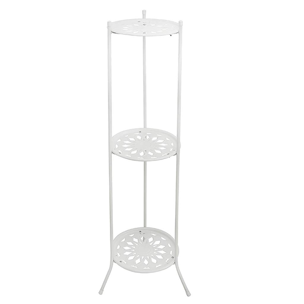 Chairs FL Pergolas/Flower Racks Flower Stand Metal 3-Layer Indoor Balcony Outdoor Flower Pot Holder Ground Flower Stand Rack Flower Display Stands (Color : White)