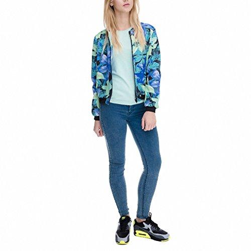 Amazon.com: Fashion Women Bomber Jacket Printing Blue Mint Flowers Chaquetas Mujer Fashion Slim Jackets Outwear for Women Basic Coats jka36060 One Size: ...