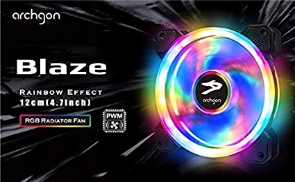 Archgon RGB Radiator Fan CPU Cooler with Bright LED Colors for PC Case 120 mm Design Fan with Quiet Blades for PC Gaming 3 in 1, 366 Lighting Mode PWM Function