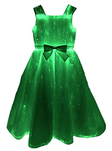 Girls Fiber Optic Light up Princess Dresses Glow in the Dark Costume for Party Dance (M, White)