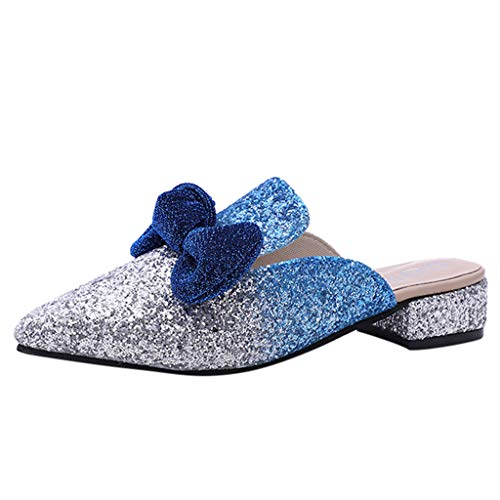 (Ghazzi Women Flat Shoes Fashion Women's Flat Single Shoes Bow Wild Ladies' Sandals Sequin Casual Shoes)