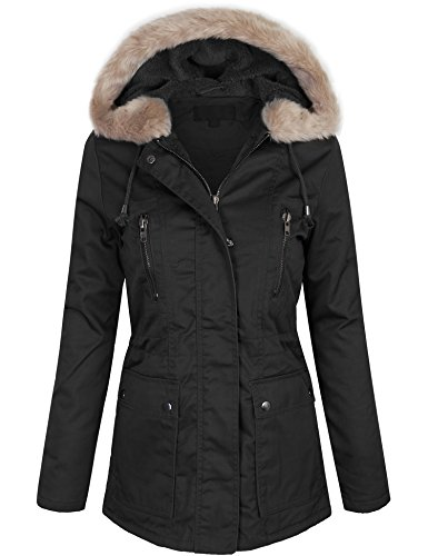 Fur Lining - KOGMO Womens Zip Up Utility Jacket Coat With Faux Fur Lining and Hoodie-S-Black