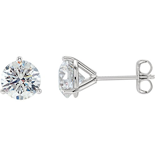 5/8 Carat Natural Round Brilliant Solitaire Diamond Stud Earrings for Women - 14K White Gold 3 Prong Martini with Push Backs (G-H Color, SI2-I1 Clarity)