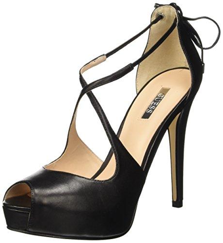 Negro de Zapatos Tacón Leather de Guess Punta Cerrada Mujer Toe Nero Open vYw6x1q