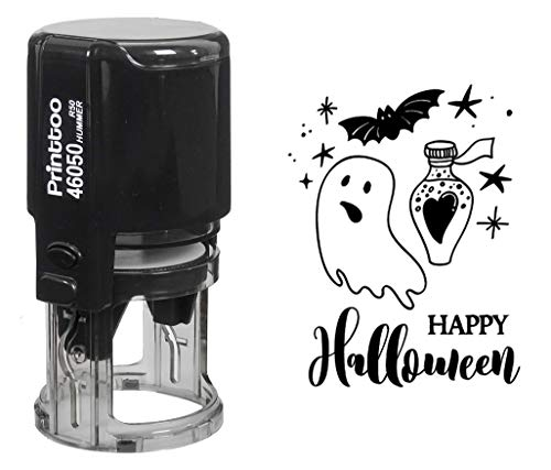 Printtoo Round Happy Halloween Rubber Stamp Self Inking Party Invitation Stamper Gift Idea for $<!--$16.99-->
