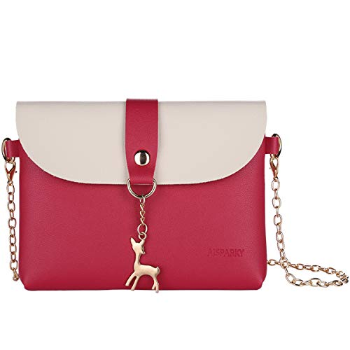 (Small Crossbody Purse for Women With Pendant,PU Leather Crossbody Bag With Strap Cell Phone Bag for Girl (Rose Red-Gold Chain))