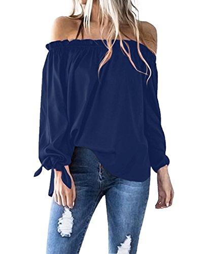 ACHIOOWA Women's Sexy Tops Off Shoulder Long Sleeve Blouse Tunic Swing Casual T-Shirt Blue L