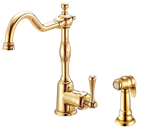 Danze D401157PBV Opulence Single Handle Kitchen Faucet with Side Spray, Polished Brass ()