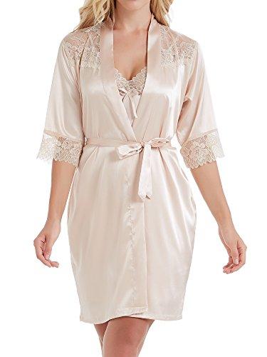 Pure Color Lace (Cabreao Women's Satin Kimono Robe Pure Colour Lace Sleepwear (Large, Champagne))