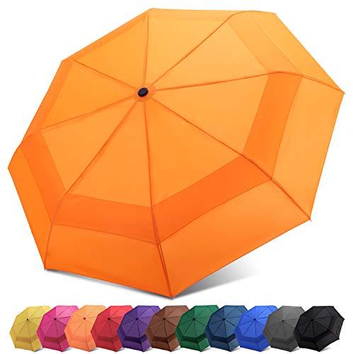 Fidus Automatic Windproof Vented Sun&Rain Travel Umbrella with Double Canopy - Collapsible Compact Lightweight Umbrella (A4-Orange)