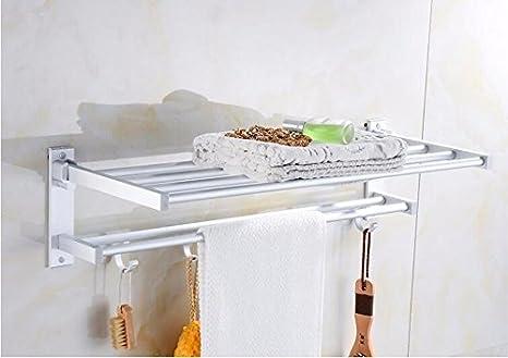 Peiwenin portasciugamani da bagno in alluminio con mensola da