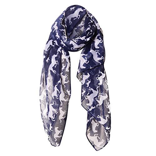 (CapsA Horse Print Scarf Fashion Farm Animal Lady Wrap Neck Shawl Soft Stole Hot (Gray))