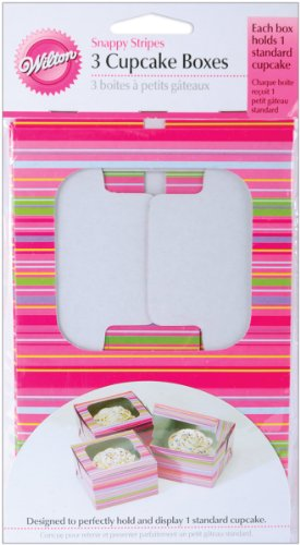 Wilton Single Striped Cupcake Box, Holds 1 Standard Cupcake