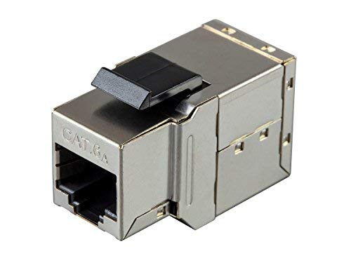 Monoprice Shielded Straight Through Cat6A RJ45 Keystone in-Line Coupler - Silver Use for Networking, Patch Cables, Ethernet Cable/Chord