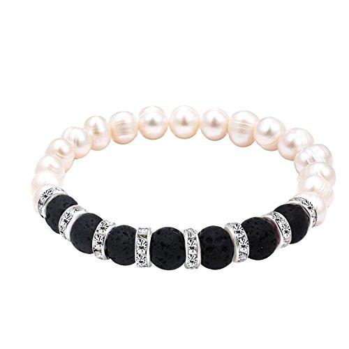 Katia Camille Black Lava Rock Stone Bracelet Bangle for Women Freshwater Pearl Bead Stretch Bracelet Fashion Jewelry(Lava rock ()