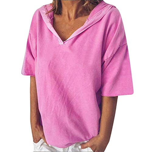 Loosebee Womens Tie Dye Tunics Summer Casual Short Sleeves Tops Flowy Blouses ()