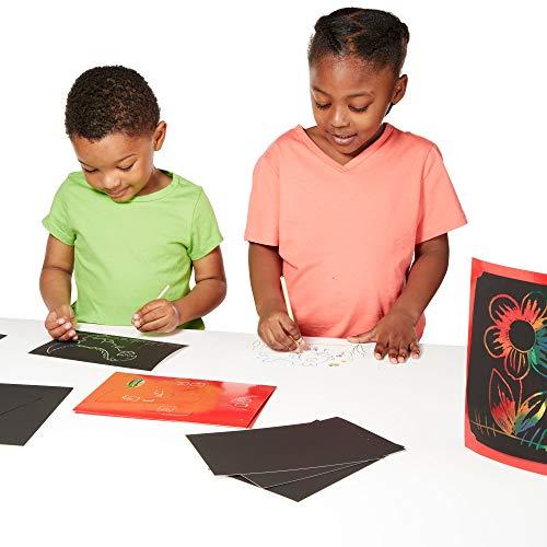 Melissa & Doug Deluxe Combo Scratch Art Set 16 tableros, 2 herramientas Stylus, 3 marcos