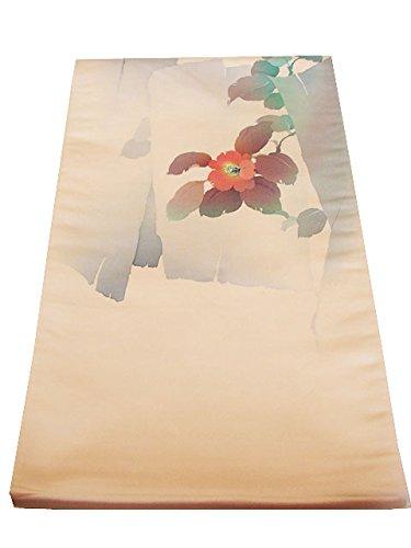 博多着物市場 きものしらゆり 薄桃色地 花草柄 塩瀬風 袋帯 正絹 仕立て上り