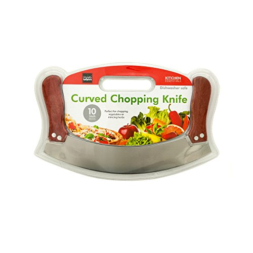 Pizza Rocker Knife - Rocking Cutting - Veggie Dicer - Use Both Hands - Away from the blade... Safer For The Kids - Curved Chopping Knife Chops Leafy Vegetables and All Kinds of Veggies