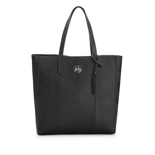 Joy Mangano Metallic Leather Onyx Travel Tote, Black