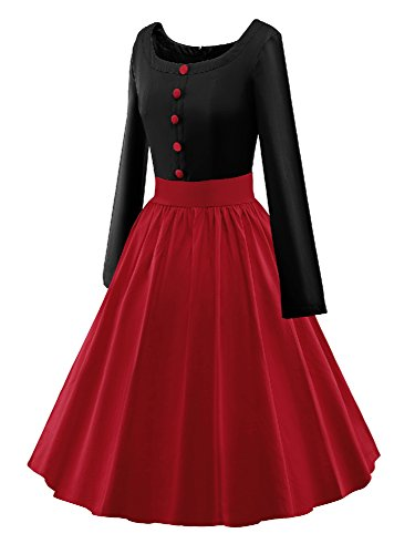 LUOUSE Vestido Cuello redondo Estilo 1950 Vintage retro con botón V043-rojo