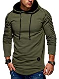 Lealac Athletic Casual Cotton Crew Neck Jersey Men's Dri-Power Pullover Fleece Hoodie for Men L181-Hoodie Army Green XXL