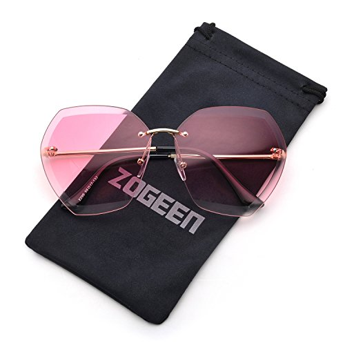 ZOGEEN Oversized Rimless Sunglasses for Women Clear Lens Metal Frame (Gold& Deep - You Trust Sunglasses Can