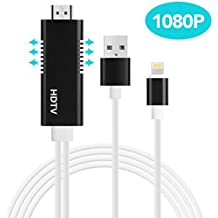 Lightning to HDMI, Baseus HDMI to Lightning Cable Adapter (6.5ft) Support 1080P HDTV for Apple, iPhone,iPad,iPod to HDMI Device Plug and Play