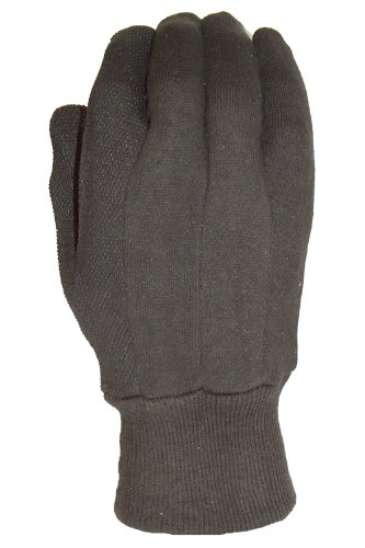 Gloves Extra Grip Jersey (Big Time Products 9117-26 True Grip Brown Large Jersey Glove with Mini-Dots)