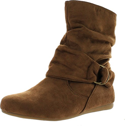 1372a96ba357 Static Footwear Selena-58 Women s Fashion Mid Calf Flat Heel Side Zipper  Slouch Boots