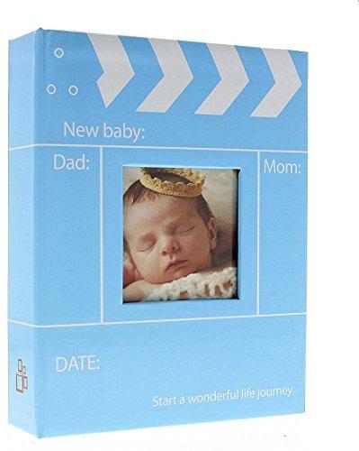 Album Photo Naissance à pochettes ROI Bleu pour 200 photos 10x15 cm, Couverture en papier imprimé, 2 vues par page, Dimensions : 17X22.5 cm, existe aussi en rose LCD