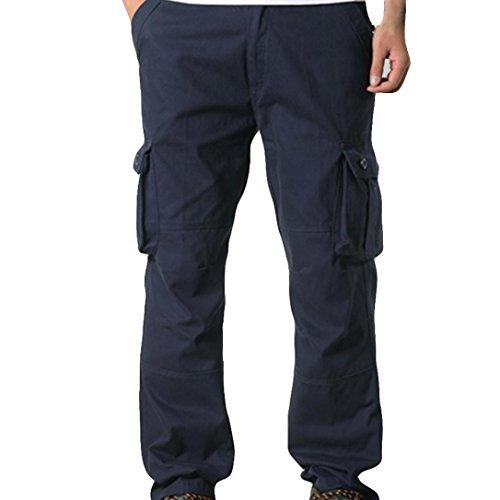 (iZHH Men Pocket Overalls Casual Pocket Sport Work Casual Trouser Pants(L-Navy,29))