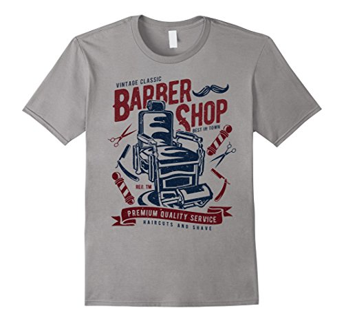 Mens Vintage Retro Look Barber Shop T-Shirt Large - Look Retro Male