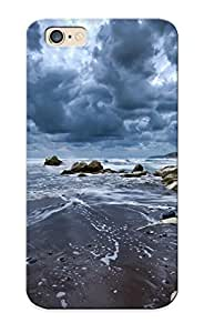 Case For Iphone 6 Tpu Phone Case Cover(nature Beaches Sand Rocks Shore Coast Ocean Sea Tide Waves Landscapes Seascape Scapes Sky Clouds) For Thanksgiving Day's Gift