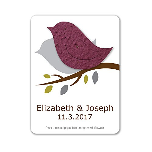 (Bloomin Plantable Love Bird Wedding Favor with Seed Paper - Burgundy (25 Card Set))
