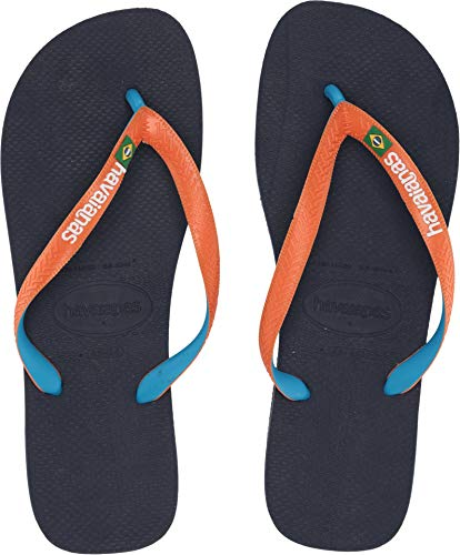 Havaianas Men's Brazil Mix Flip Flops Blue/Orange 45-46 M - Sandals Havaianas Embossed