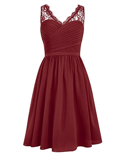 Dreagel Party Burgundy Ruched Dress V Bridesmaid Homecoming neck Dress Short Chiffon 1q1rwC