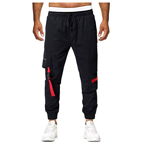(Men Joggers Pants Premium Hip Hop Basic Slim Fit Trousers Sweatpants Athletic with Side Taping Multi-Pocket (XXXL, Black))