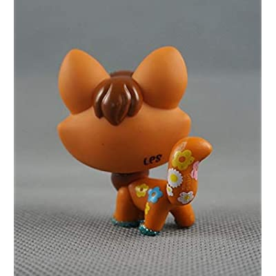 Littlest Pet Shop LPS#14 Toys Brown Tan Shimmer Sparkle Fox Green Eyes: Toys & Games