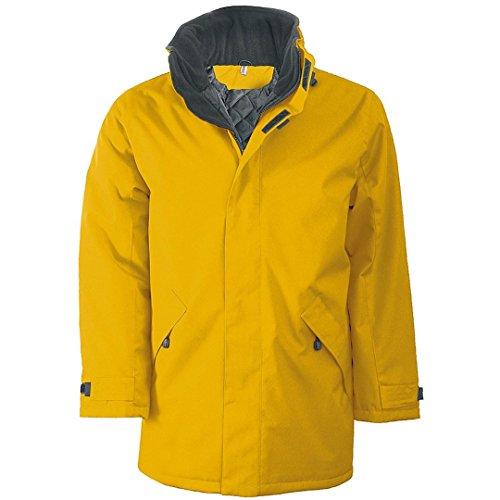 para Hombre Kariban Dark Grey Parka Padded Jacket Chaqueta Yellow qHwXZwIx