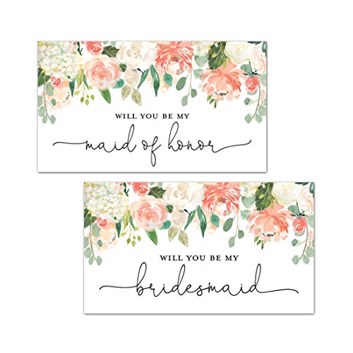 Peach Floral Bridesmaid Proposal Mini Champagne Bottle Labels - Set of -