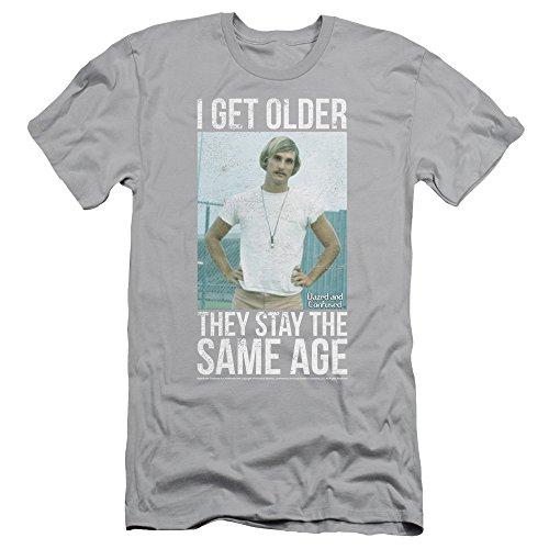 Dazed and Confused I Get Older Slim Fit Unisex Adult T Shirt for Men and Women, X-Large Silver