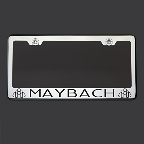 black-lettering-laser-engraved-mirror-polish-stainless-steel-maybach-license-plate-frame-holder-fron