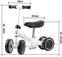 Zerone Entrenamiento del Equilibrio Mini Bicicleta de Bebé sin Pedales , para Niño 1-2 Años Andador de Cuatro Ruedas (Blanco)
